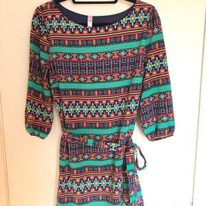Francesca's Alya - Aztec Tie-Front Dress